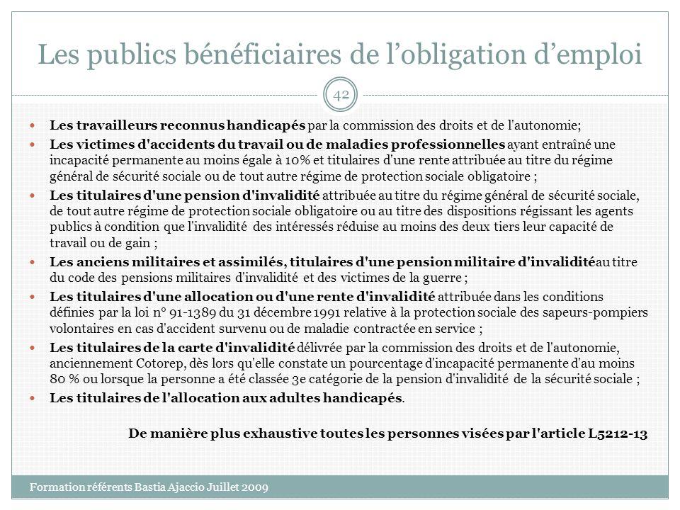 Les publics bénéficiaires de lobligation demploi Les travailleurs reconnus handicapés par la commission des droits et de l'autonomie; Les victimes d'a