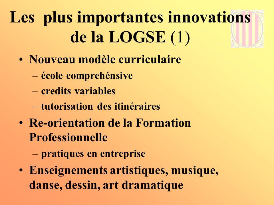 Les plus importantes innovations de la LOGSE (2) Changements dans lOrganisation –PEC, PLC –Evaluation du SE - INCE –Intégration des élèves à besoins spécifiques Scolarité obligatoire jusquà 16 ans