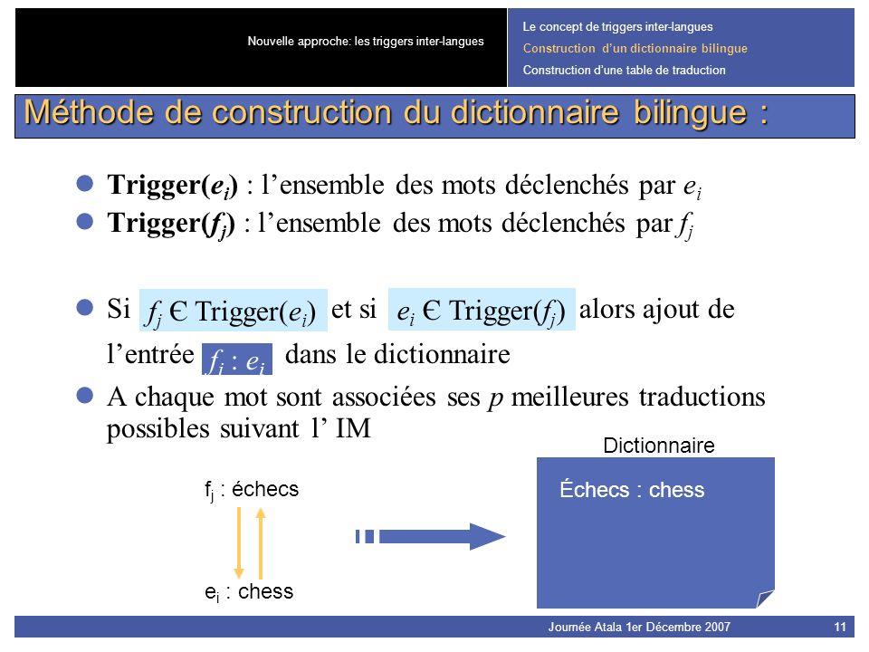 Journée Atala 1er Décembre 200711 Trigger(e i ) : lensemble des mots déclenchés par e i Trigger(f j ) : lensemble des mots déclenchés par f j Si f j Є