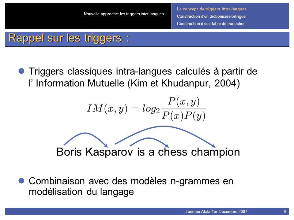 Journée Atala 1er Décembre 20078 Boris Kasparov is a chess champion Triggers classiques intra-langues calculés à partir de l Information Mutuelle (Kim