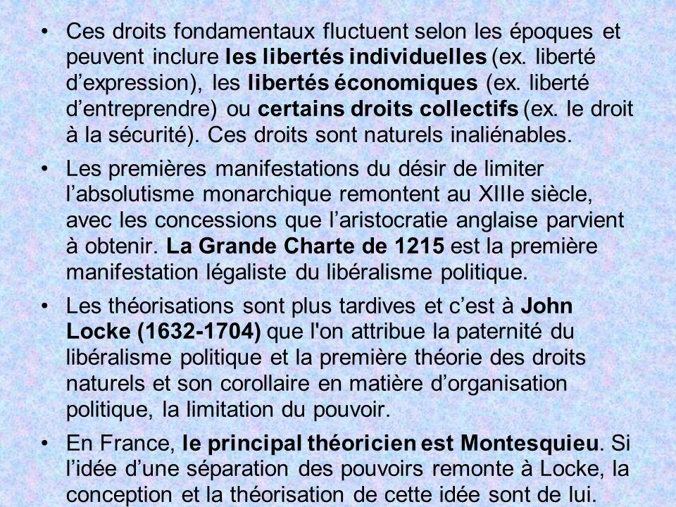 Ces droits fondamentaux fluctuent selon les époques et peuvent inclure les libertés individuelles (ex. liberté dexpression), les libertés économiques