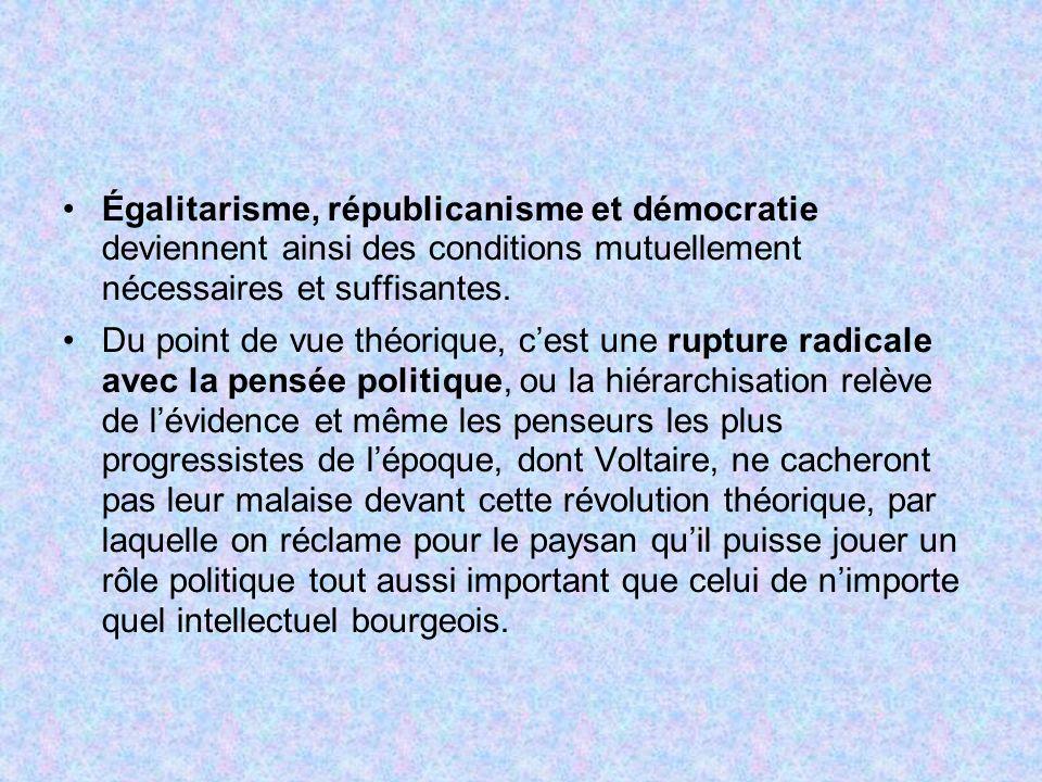 Égalitarisme, républicanisme et démocratie deviennent ainsi des conditions mutuellement nécessaires et suffisantes. Du point de vue théorique, cest un