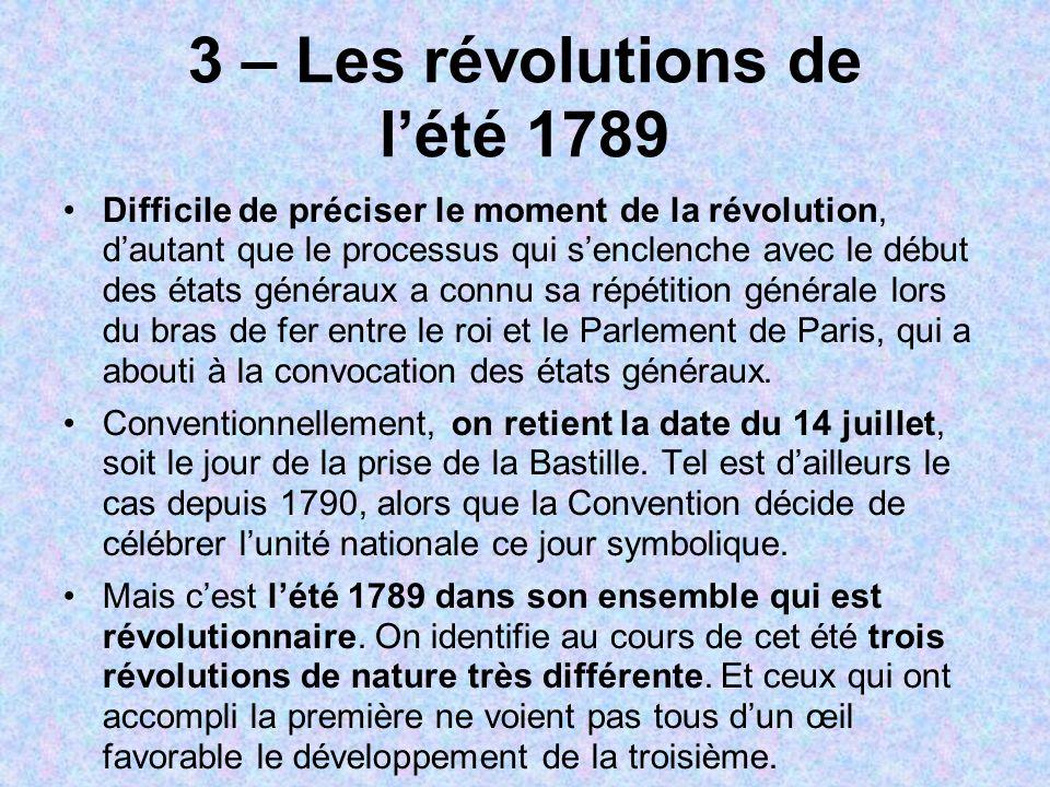 3 – Les révolutions de lété 1789 Difficile de préciser le moment de la révolution, dautant que le processus qui senclenche avec le début des états gén