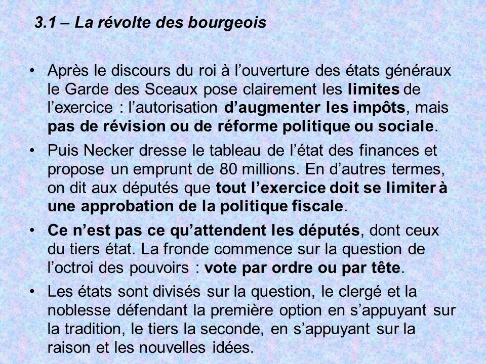 3.1 – La révolte des bourgeois Après le discours du roi à louverture des états généraux le Garde des Sceaux pose clairement les limites de lexercice :