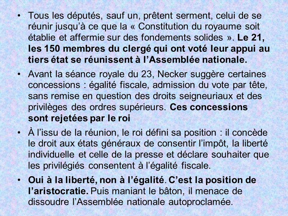 Tous les députés, sauf un, prêtent serment, celui de se réunir jusquà ce que la « Constitution du royaume soit établie et affermie sur des fondements