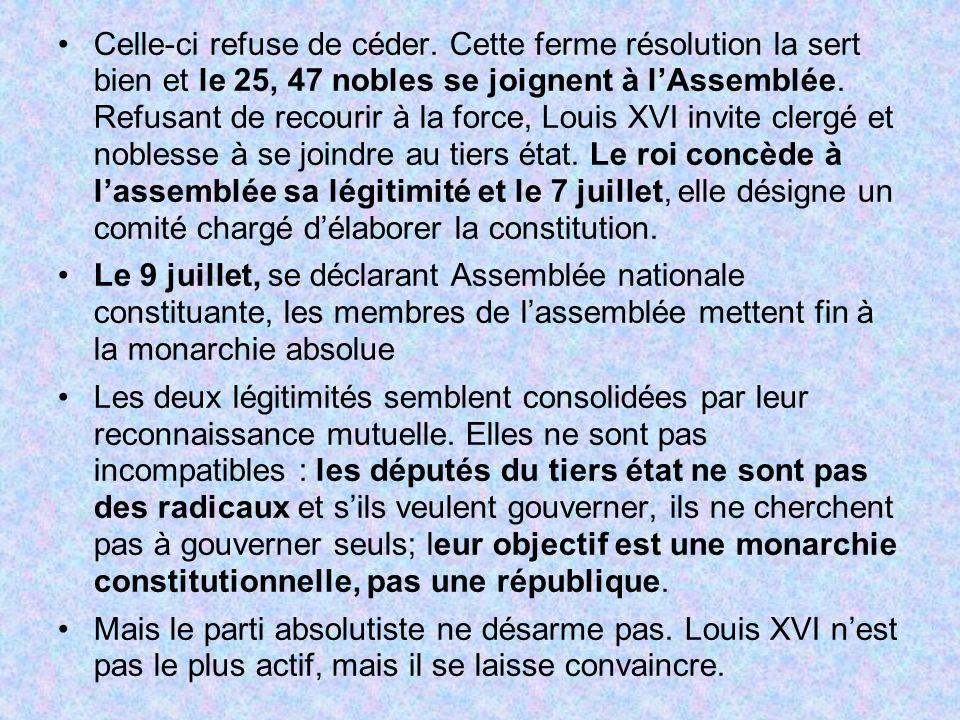Celle-ci refuse de céder. Cette ferme résolution la sert bien et le 25, 47 nobles se joignent à lAssemblée. Refusant de recourir à la force, Louis XVI