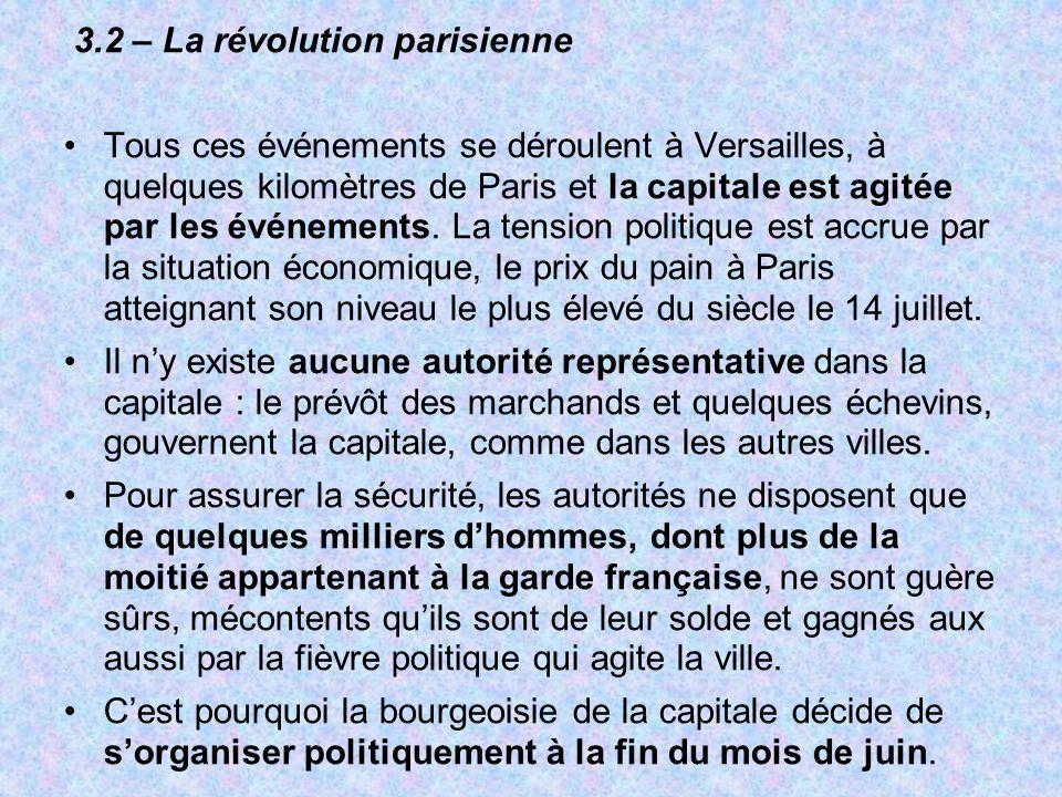 3.2 – La révolution parisienne Tous ces événements se déroulent à Versailles, à quelques kilomètres de Paris et la capitale est agitée par les événeme