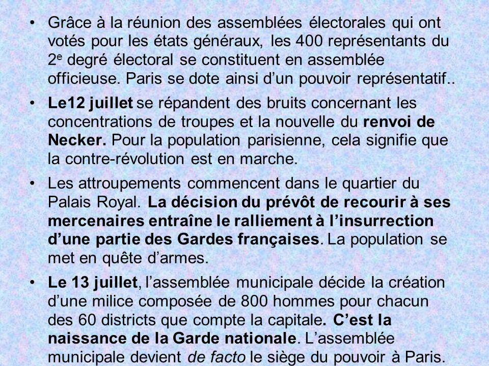 Grâce à la réunion des assemblées électorales qui ont votés pour les états généraux, les 400 représentants du 2 e degré électoral se constituent en as