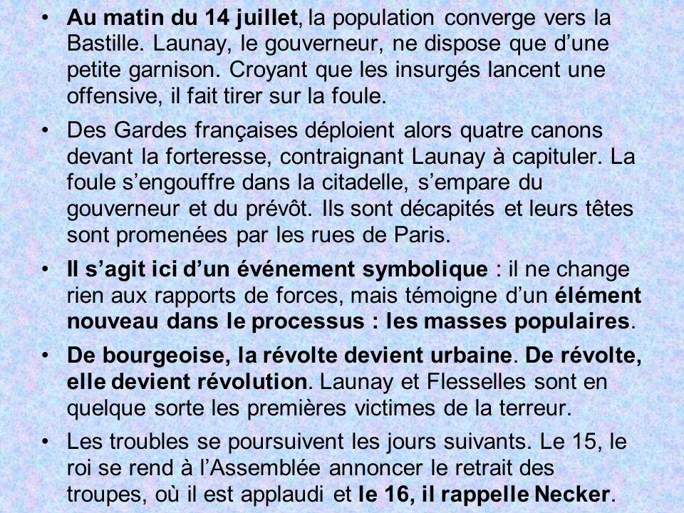 Au matin du 14 juillet, la population converge vers la Bastille. Launay, le gouverneur, ne dispose que dune petite garnison. Croyant que les insurgés