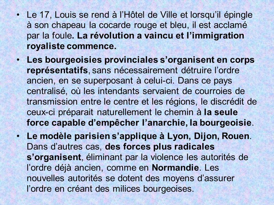 Le 17, Louis se rend à lHôtel de Ville et lorsquil épingle à son chapeau la cocarde rouge et bleu, il est acclamé par la foule. La révolution a vaincu