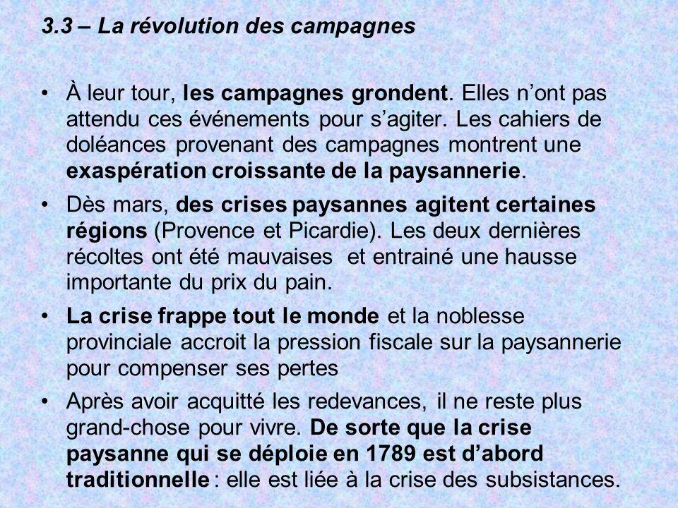 3.3 – La révolution des campagnes À leur tour, les campagnes grondent. Elles nont pas attendu ces événements pour sagiter. Les cahiers de doléances pr