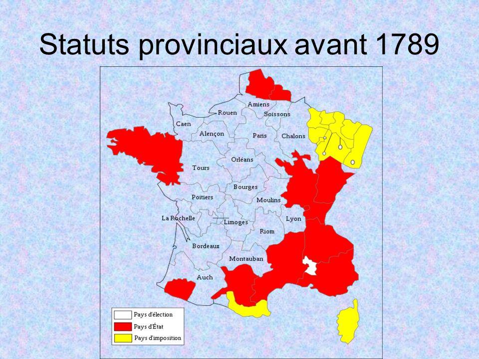 Statuts provinciaux avant 1789