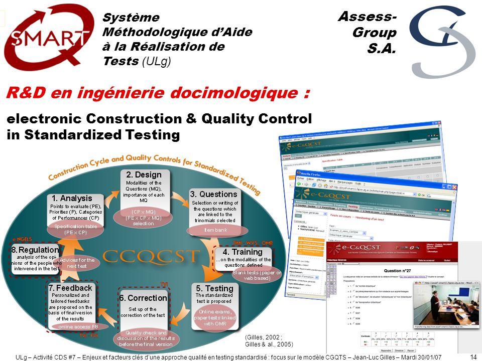 ULg – Activité CDS #7 – Enjeux et facteurs clés dune approche qualité en testing standardisé : focus sur le modèle CGQTS – Jean-Luc Gilles – Mardi 30/01/07 15 1.