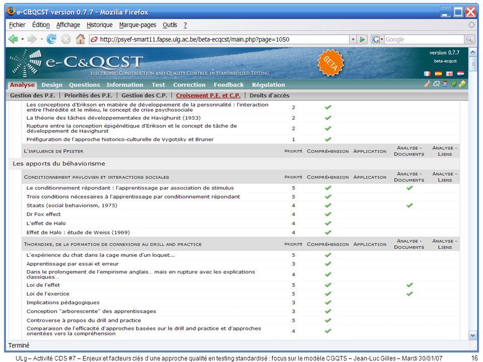 ULg – Activité CDS #7 – Enjeux et facteurs clés dune approche qualité en testing standardisé : focus sur le modèle CGQTS – Jean-Luc Gilles – Mardi 30/01/07 17 2.
