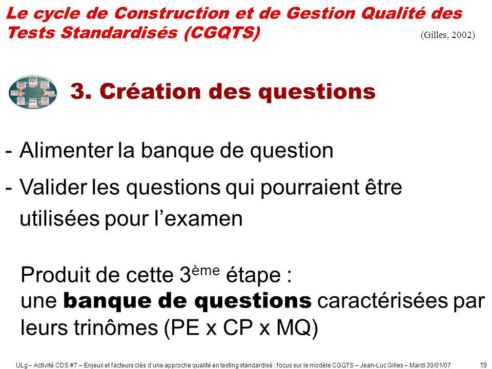 ULg – Activité CDS #7 – Enjeux et facteurs clés dune approche qualité en testing standardisé : focus sur le modèle CGQTS – Jean-Luc Gilles – Mardi 30/01/07 20
