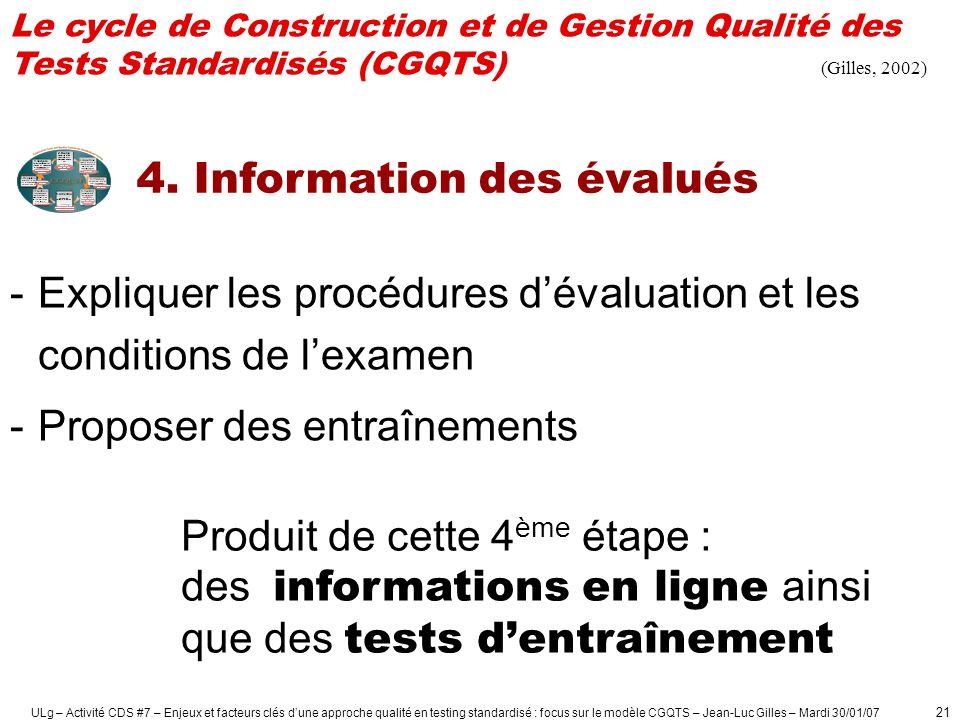 ULg – Activité CDS #7 – Enjeux et facteurs clés dune approche qualité en testing standardisé : focus sur le modèle CGQTS – Jean-Luc Gilles – Mardi 30/01/07 22