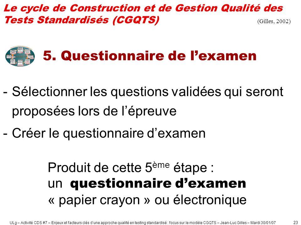 ULg – Activité CDS #7 – Enjeux et facteurs clés dune approche qualité en testing standardisé : focus sur le modèle CGQTS – Jean-Luc Gilles – Mardi 30/01/07 24