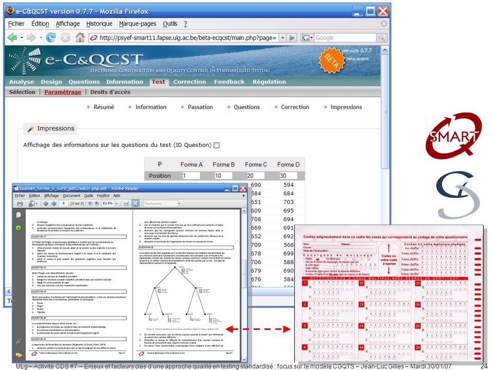 ULg – Activité CDS #7 – Enjeux et facteurs clés dune approche qualité en testing standardisé : focus sur le modèle CGQTS – Jean-Luc Gilles – Mardi 30/01/07 25 6.