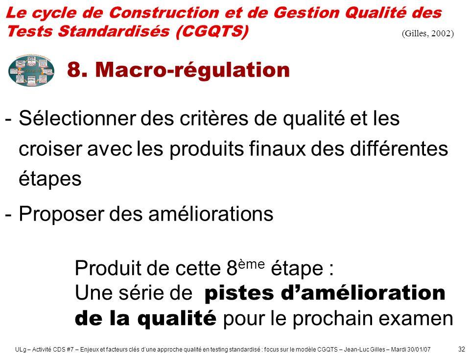 ULg – Activité CDS #7 – Enjeux et facteurs clés dune approche qualité en testing standardisé : focus sur le modèle CGQTS – Jean-Luc Gilles – Mardi 30/01/07 33 Comparaison des moyennes des avis des étudiants à propos des examens dans le 1er cycle de la FAPSE-ULg (de 1997 à 2000) 1 2 3 4 5 6 [1.1] Le mode d évaluation était adéquat [1.2] L entraînement avant l examen était suffisant [1.3] Les questions étaient claires [1.4] Questions bien adaptées à la matière [1.5] Le mode d évaluation permet au prof.