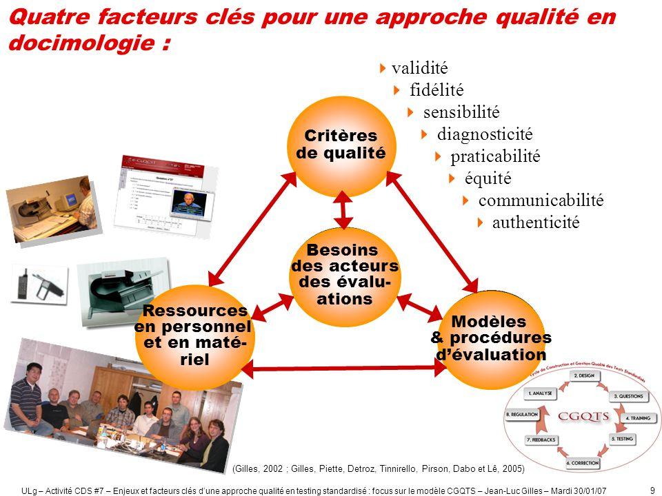 ULg – Activité CDS #7 – Enjeux et facteurs clés dune approche qualité en testing standardisé : focus sur le modèle CGQTS – Jean-Luc Gilles – Mardi 30/01/07 10 Quels avantages des examens standardisés de qualité peuvent-ils offrir .
