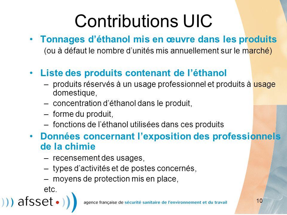 10 Contributions UIC Tonnages déthanol mis en œuvre dans les produits (ou à défaut le nombre dunités mis annuellement sur le marché) Liste des produit