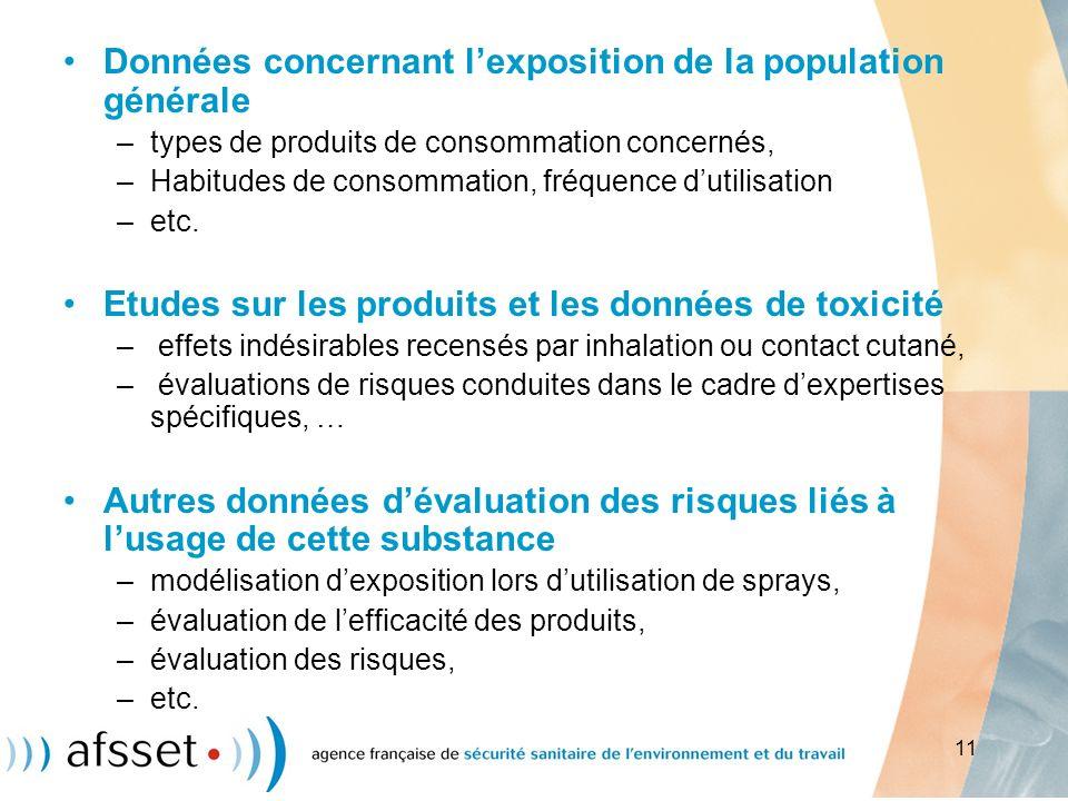 11 Données concernant lexposition de la population générale –types de produits de consommation concernés, –Habitudes de consommation, fréquence dutili