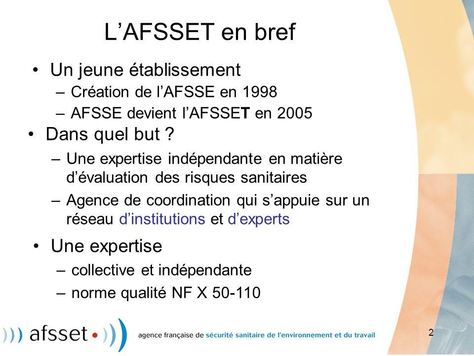 2 LAFSSET en bref Un jeune établissement –Création de lAFSSE en 1998 –AFSSE devient lAFSSET en 2005 Dans quel but ? –Une expertise indépendante en mat