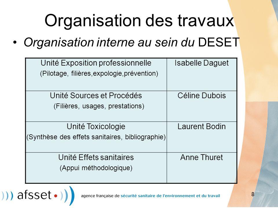 8 Organisation des travaux Organisation interne au sein du DESET Unité Exposition professionnelle (Pilotage, filières,expologie,prévention) Isabelle D