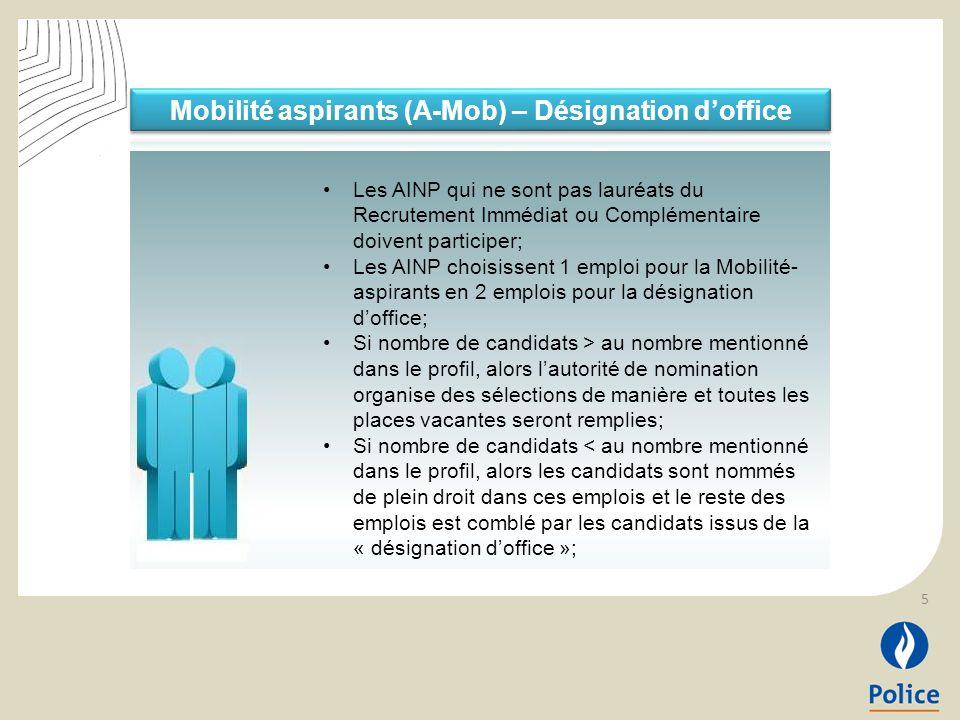 5 Les AINP qui ne sont pas lauréats du Recrutement Immédiat ou Complémentaire doivent participer; Les AINP choisissent 1 emploi pour la Mobilité- aspi