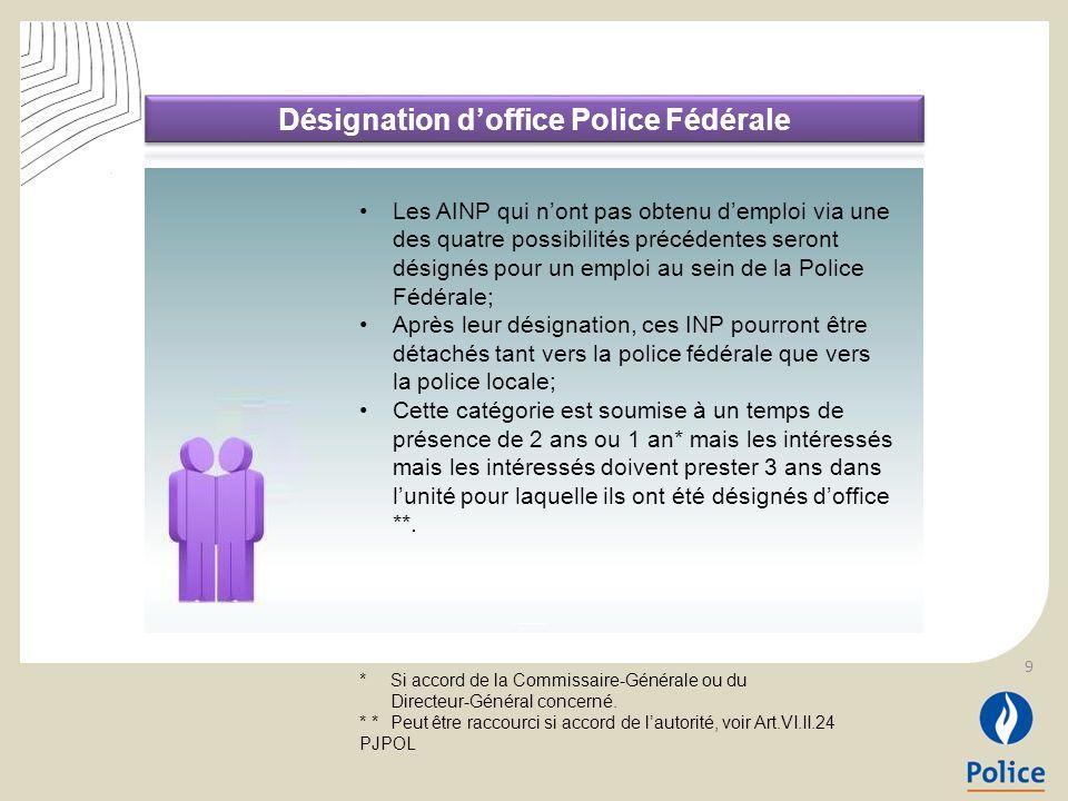 9 Les AINP qui nont pas obtenu demploi via une des quatre possibilités précédentes seront désignés pour un emploi au sein de la Police Fédérale; Après
