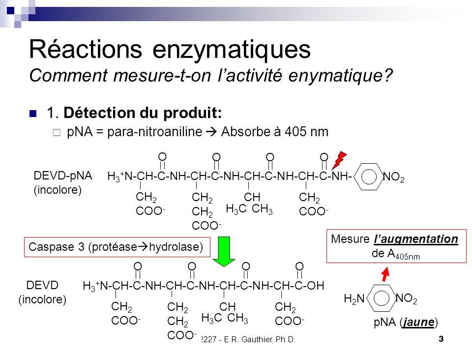 CHMI 2227 - E.R. Gauthier, Ph.D.3 Réactions enzymatiques Comment mesure-t-on lactivité enymatique? 1. Détection du produit: pNA = para-nitroaniline Ab
