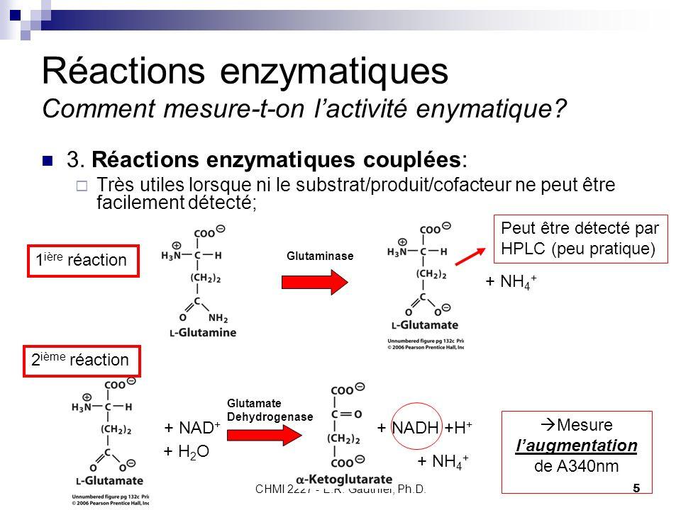 CHMI 2227 - E.R. Gauthier, Ph.D.5 Réactions enzymatiques Comment mesure-t-on lactivité enymatique? 3. Réactions enzymatiques couplées: Très utiles lor