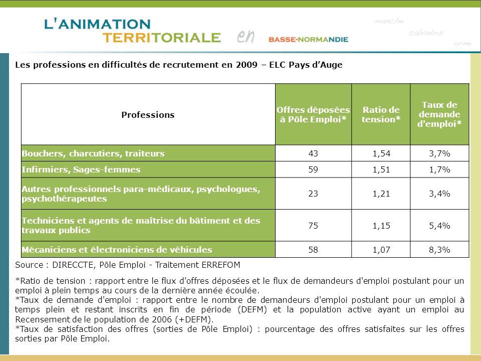 Les professions en difficultés de recrutement en 2009 – ELC Pays dAuge Source : DIRECCTE, Pôle Emploi - Traitement ERREFOM *Ratio de tension : rapport