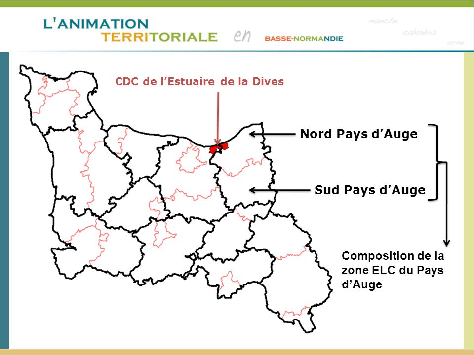 Sud Pays dAuge Nord Pays dAuge CDC de lEstuaire de la Dives Composition de la zone ELC du Pays dAuge