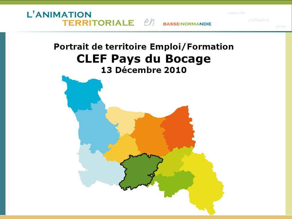 Répartition du nombre de demandeurs d emploi (catégorie A)* par niveau de formation en Décembre 2009 Source : DIRECCTE, Pôle Emploi - Traitement ERREFOM CAPF CLEF Pays du Bocage hors CAPF CLEF Pays du Bocage Orne Basse - Normandie DEFM Cat.