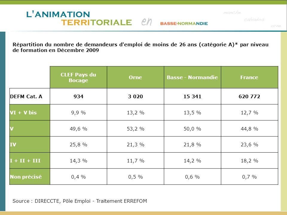 Répartition du nombre de demandeurs d'emploi de moins de 26 ans (catégorie A)* par niveau de formation en Décembre 2009 Source : DIRECCTE, Pôle Emploi