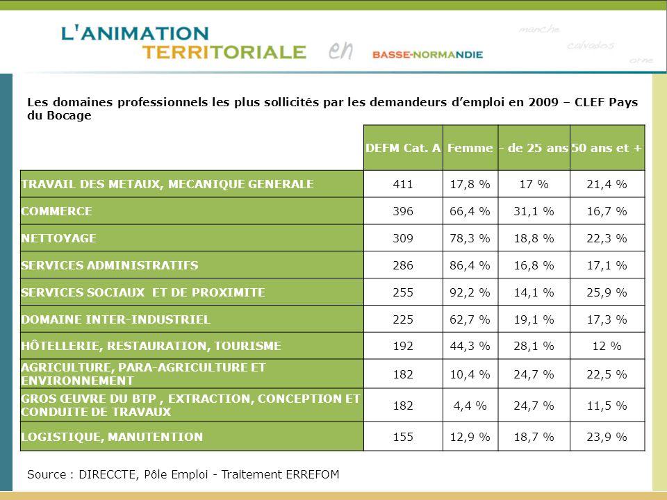 Source : DIRECCTE, Pôle Emploi - Traitement ERREFOM Les domaines professionnels les plus sollicités par les demandeurs demploi en 2009 – CLEF Pays du