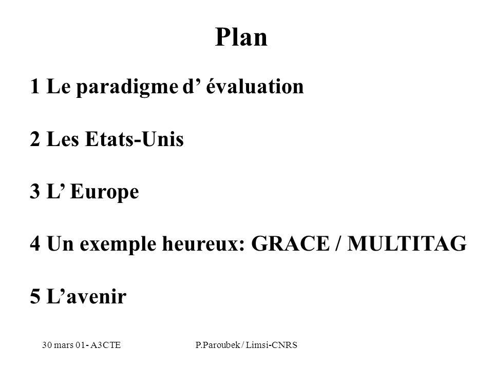 30 mars 01- A3CTEP.Paroubek / Limsi-CNRS 1 Le paradigme d évaluation 2 Les Etats-Unis 3 L Europe 4 Un exemple heureux: GRACE / MULTITAG 5 Lavenir Plan