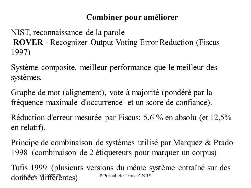 30 mars 01- A3CTEP.Paroubek / Limsi-CNRS Combiner pour améliorer NIST, reconnaissance de la parole ROVER - Recognizer Output Voting Error Reduction (Fiscus 1997) Système composite, meilleur performance que le meilleur des systèmes.