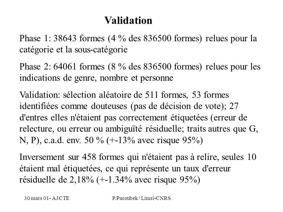 30 mars 01- A3CTEP.Paroubek / Limsi-CNRS Validation Phase 1: 38643 formes (4 % des 836500 formes) relues pour la catégorie et la sous-catégorie Phase 2: 64061 formes (8 % des 836500 formes) relues pour les indications de genre, nombre et personne Validation: sélection aléatoire de 511 formes, 53 formes identifiées comme douteuses (pas de décision de vote); 27 d entres elles n étaient pas correctement étiquetées (erreur de relecture, ou erreur ou ambiguïté résiduelle; traits autres que G, N, P), c.a.d.