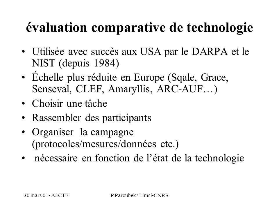 30 mars 01- A3CTEP.Paroubek / Limsi-CNRS évaluation comparative de technologie Utilisée avec succès aux USA par le DARPA et le NIST (depuis 1984) Échelle plus réduite en Europe (Sqale, Grace, Senseval, CLEF, Amaryllis, ARC-AUF…) Choisir une tâche Rassembler des participants Organiser la campagne (protocoles/mesures/données etc.) nécessaire en fonction de létat de la technologie