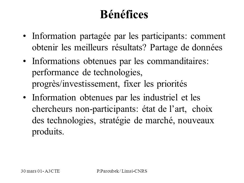 30 mars 01- A3CTEP.Paroubek / Limsi-CNRS Bénéfices Information partagée par les participants: comment obtenir les meilleurs résultats? Partage de donn