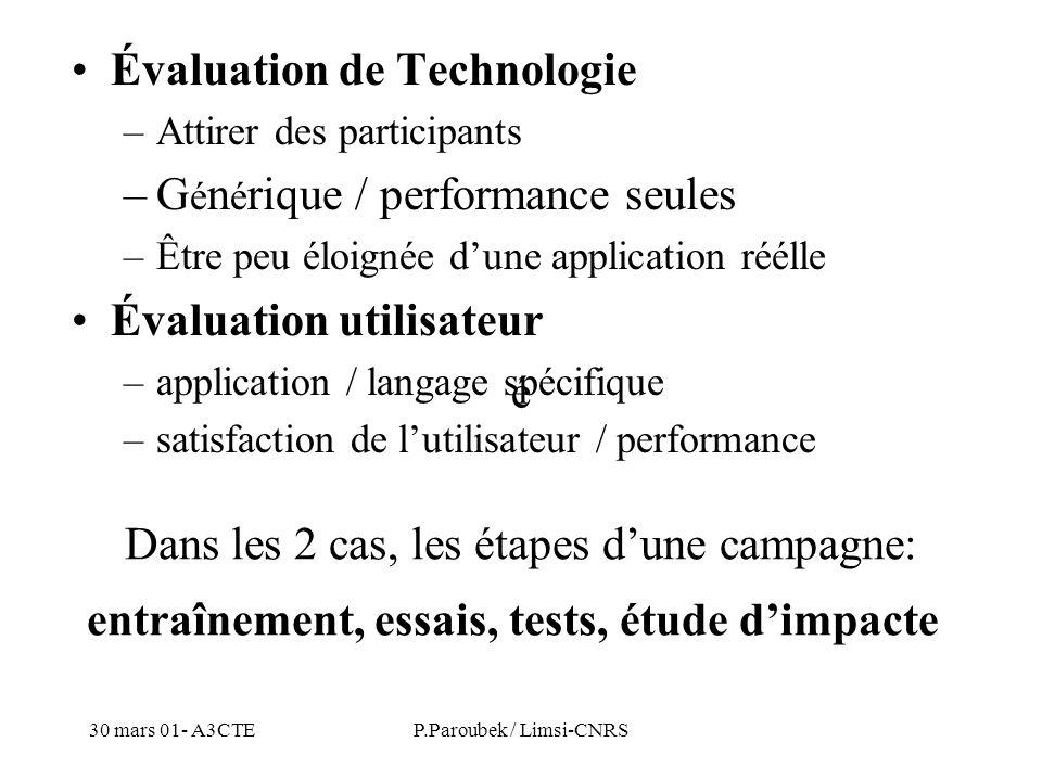 30 mars 01- A3CTEP.Paroubek / Limsi-CNRS Évaluation de Technologie –Attirer des participants –G é n é rique / performance seules –Être peu éloignée du