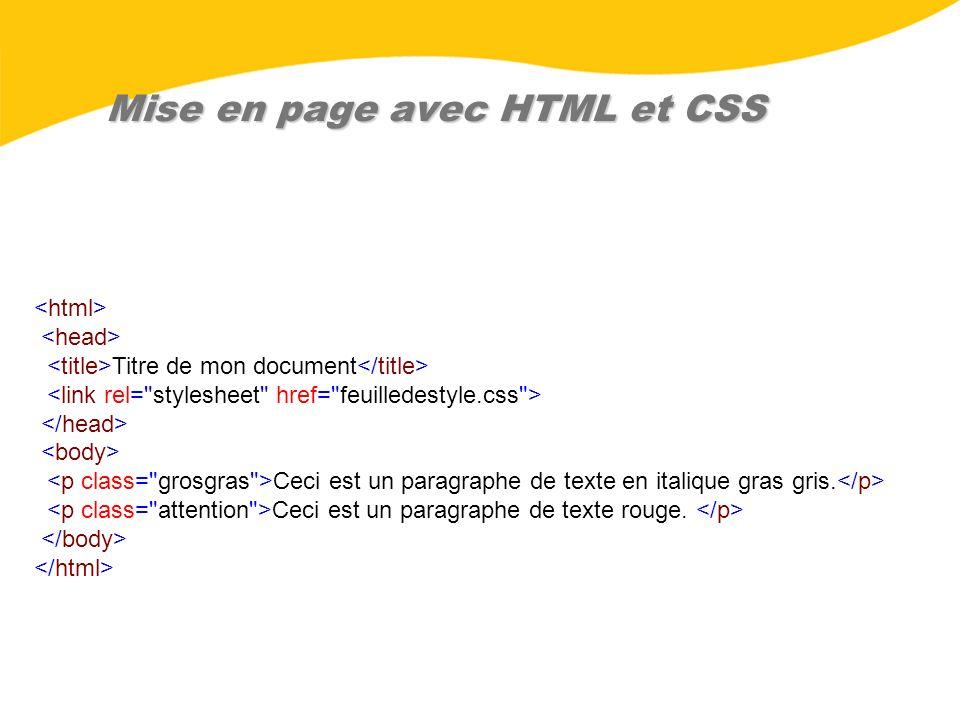 Mise en page avec HTML et CSS Titre de mon document Ceci est un paragraphe de texte en italique gras gris. Ceci est un paragraphe de texte rouge.