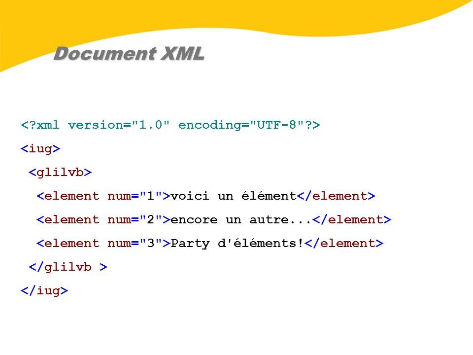 Document XML voici un élément encore un autre... Party d'éléments!