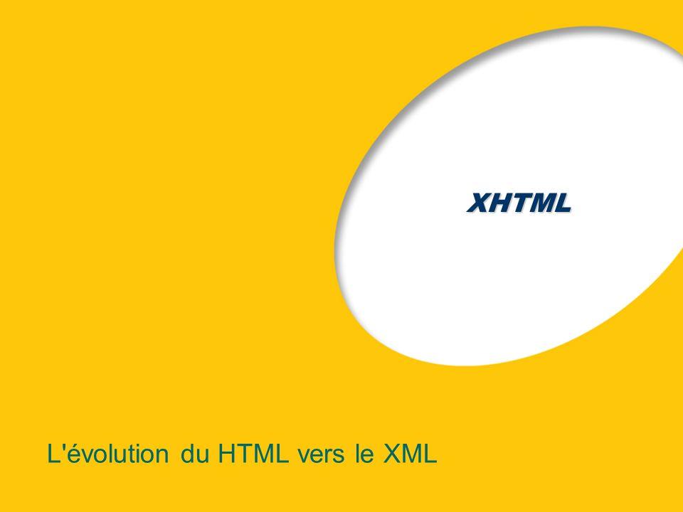 XHTML L'évolution du HTML vers le XML
