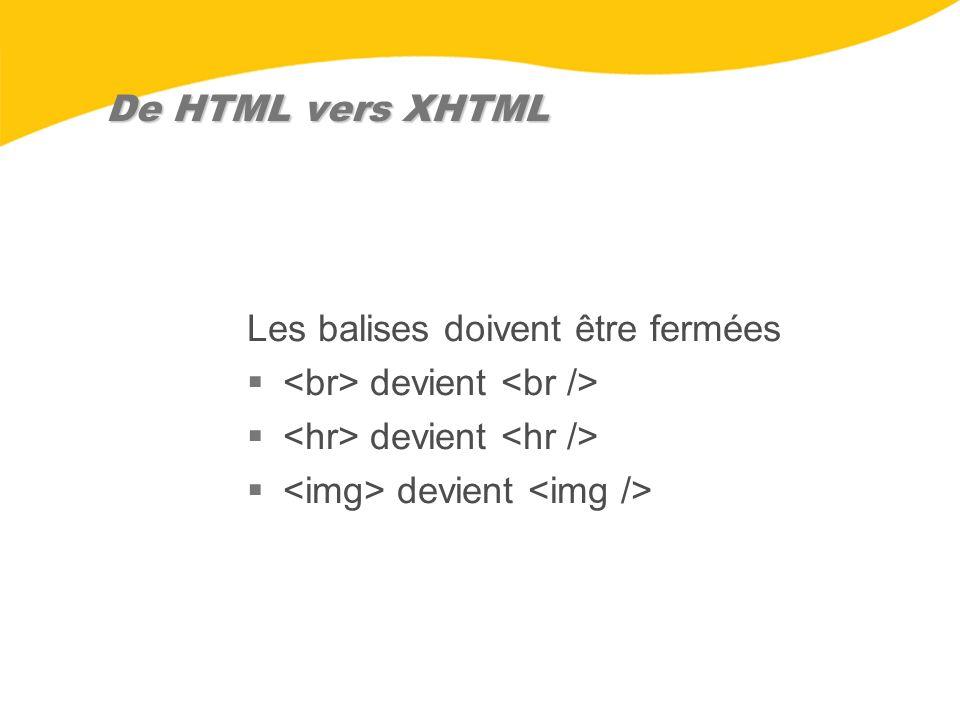 De HTML vers XHTML Les balises doivent être fermées devient