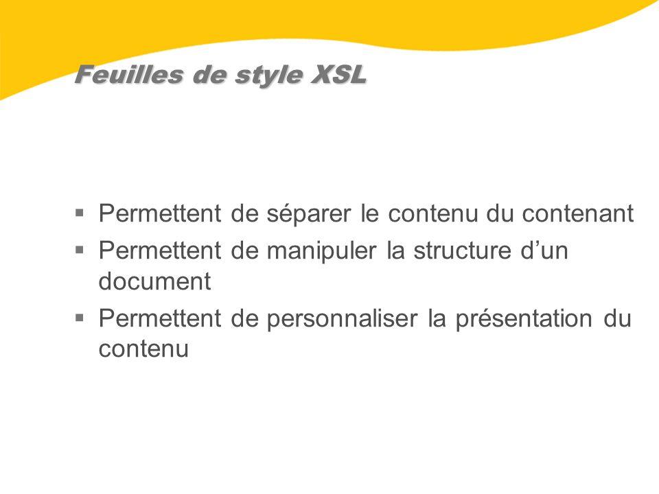 Feuilles de style XSL Permettent de séparer le contenu du contenant Permettent de manipuler la structure dun document Permettent de personnaliser la p