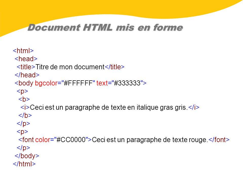 Document HTML mis en forme Titre de mon document Ceci est un paragraphe de texte en italique gras gris. Ceci est un paragraphe de texte rouge.