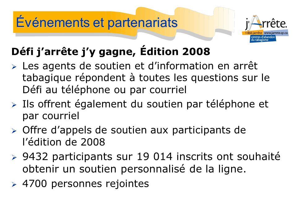Défi jarrête jy gagne, Édition 2008 Les agents de soutien et dinformation en arrêt tabagique répondent à toutes les questions sur le Défi au téléphone